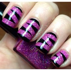 Purple & black zebra mani