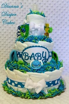 Turquoise & Lime Baby Diaper Cake Shower Gift or Centerpiece created by www.diannasdiapercakes.com