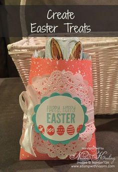 These cute chocolate bunny Easter treat bags are so easy to put together!  I used the Stampin' Up! Mini Treat Bag Thinlits Die and For Peep's Sake Stamp Set.  Your friends and family will love receiving these cute Easter treats!  #stampwithnaomi