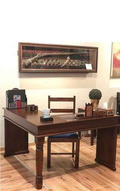 Home Office Desk Wood Side Tile Inset