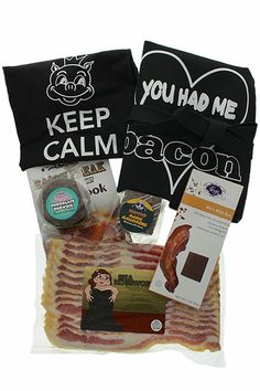 """The """"Bacon Queen"""" Gift Bundle comes with a Keep Calm and Eat Bacon t-shirt, chocolate bacon and other goodies."""