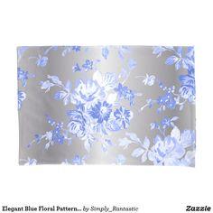 Elegant Blue Floral Pattern on Silver Case Set