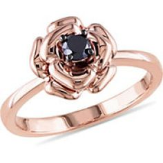 Amour 1/4-ct. T.W. Black Diamond Flower Ring-5,PINK