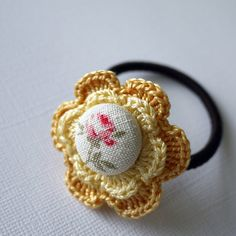 Flower+Crochet+Hair+Tie++Yellow+by+patchstitchbutton+on+Etsy,+$4.00