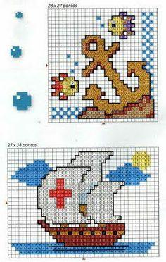 <3 Cross Stitch Sea, Cross Stitch Cards, Simple Cross Stitch, Cross Stitching, Cross Stitch Embroidery, Embroidery Patterns, Cross Stitch Patterns, Crochet Boat, Mario Crochet