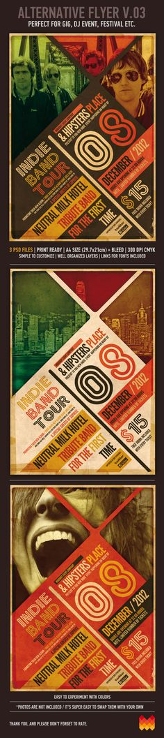 """""""Alternative/Grunge Poster v.03"""" – This flyer/poster was designed to promote music event, such as a gig, concert, festival, dj set etc. This poster can also be used for a new album promotion or other advertising purposes.3 Psd FilesPrint ReadyA4 Size …"""