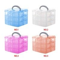 Material: pp plastic Size : 15x15x13cm(the size after assembly)         each floor:4.5cm color:trans