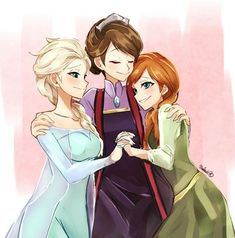 "Elsa, Idun, & Anna of Arendelle from Disney's ""Frozen. Disney Pixar, Disney Fan Art, Disney Animation, Disney And Dreamworks, Disney Frozen, Walt Disney, Frozen Anime, Disney Dream, Disney Love"