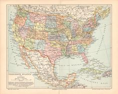 "#Antique #USA United States and #Mexico Map // 1897 // Lithograph Print // German, ""Vereinigte Staaten"", Old maps"