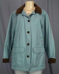 LL BEAN Barn Jacket Womens Adirondack Coat Quilted Lining Sz M Petite MP Blue | eBay
