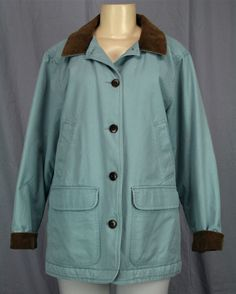 LL BEAN Barn Jacket Womens Adirondack Coat Quilted Lining Sz M Petite MP Blue | eBay