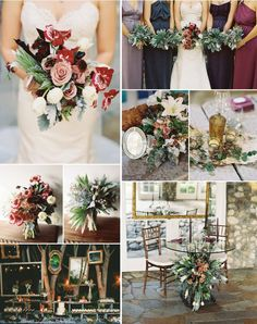Color palette: cranberry, blackberry, ivory, gold, and greenery