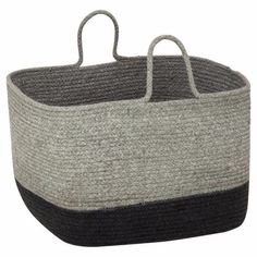 Soft-Storage-Basket-With-Handles-Grey-Charcoal-Kitchen-Laundry-Organiser