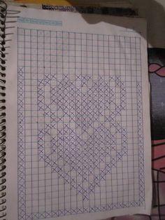 Graph for filet crochet heart runner rug. Crochet Shoes Pattern, Crochet Mandala Pattern, Crochet Stitches Patterns, Thread Crochet, Crochet Doilies, Stitch Patterns, Knitting Patterns, Filet Crochet Charts, Crochet Diagram