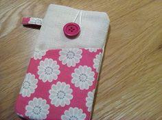 Daisy Xperia phone sleeve, cream linen iPhone case, iPod fabric wallet
