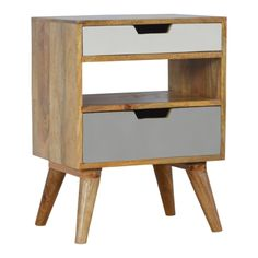 These are two handcrafted solid wood bedside tables or occasional tables made from solid mango wood featuring 2 drawers and an open shelf. Painted in shades of grey they have cutouts for opening and closing. They have Scandinavian style tapered legs * 100% Solid Mango Wood * 2 Painted Drawers * Open Shelf * Splayed Tapered Legs * Crafted By Hand * Natural Wood Finish * Secure Packaging * Timber EU Compliant * Legs Detac...