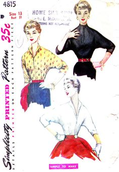 1950s Bust 31 Misses Blouse Vintage Sewing by OpalsOwlVintage, $10.00