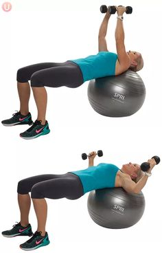 Woman doing chest fly on stability ball