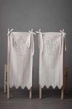 Elegant embroidered Mr. and Mrs. chair covers