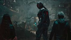 Shot-By-Shot Breakdown Of Avengers 2 Trailer Reveals Spoilery Details: Ultron looks over a gigantic factory. Scarlet Witch and Quicksilver stand to his side. Defenders Marvel, Marvel Vs, Streaming Movies, Hd Movies, Ultron Wallpaper, Ultron Movie, Shot By Shot, The Avengers, Avengers