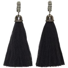Lanvin Black Clip-On Marina Tassel Earrings (€525) ❤ liked on Polyvore featuring jewelry, earrings, clasp earrings, tassel jewelry, black jewelry, crystal earrings and crystal jewelry
