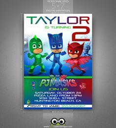 PJ Masks Birthday Invitation Gekko Catboy By Frographicdesigns Superhero Party Invitations 4th