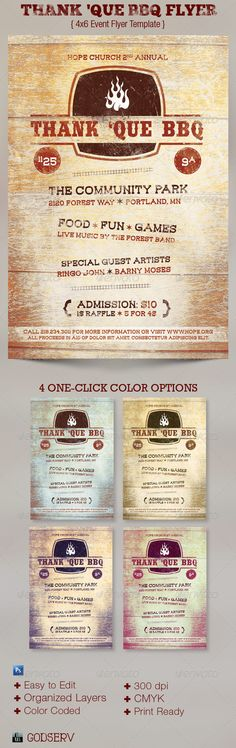 Thank 'Que Western BBQ Charity Flyer Template on Behance
