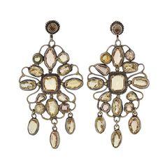 Late Art Deco Sterling Silver Citrine Earrings