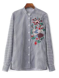 $26.99 Striped Stand Collar Peacock Embroidered Shirt - STRIPE XS