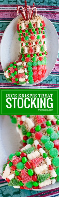 This Rice Krispie Treat Stocking recipe is an easy Christmas dessert option for both kids and adults! It was simple to make and decorate and is meant to be made ahead. This is a fun project for the whole family to make during the holidays and is a great G Kids Christmas Treats, Christmas Desserts Easy, Christmas Food Gifts, Homemade Christmas Gifts, Christmas Candy, Christmas Goodies, Christmas Sweets, White Christmas, Christmas Time