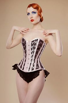 Overbust pale pink satin corset