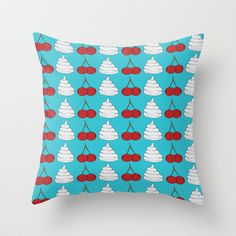 cherries and cream  Throw Pillow by Elliot Swanson  - $20.00