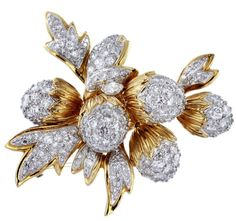 Diamond Acorn Brooch