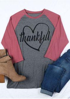 Plus Size Thankful Heart O-Neck Baseball T-Shirt