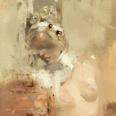 "Jeremy Mann, ""Portrait Study #12"" - 6x6, oil on panel--at Principle Gallery"