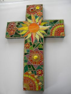 Sunburst Mosaic Cross - Original Art by TheMosartStudio on Etsy https://www.etsy.com/listing/184399791/sunburst-mosaic-cross-original-art