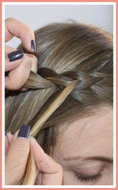 Hair Tutorial: Beginner Bohemian Braids - Braided hairstyles easy - Take strand closest to forehead, cross under middle strand, and join with the far right strand. Braid Front Of Hair, Braids For Thin Hair, Braiding Your Own Hair, Front Braids, Braiding Bangs, French Braided Bangs, Easy French Braid, Side French Braids, Braided Buns