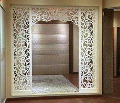 Design Inspirations for a Prayer Room at Home - CasaNesia Living Room Partition Design, Pooja Room Door Design, Room Partition Designs, Jaali Design, Mandir Design, Plafond Design, Pooja Rooms, Prayer Room, Ceiling Design