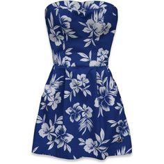 Hollister Co Lake Hodges Dress ($9.45) ❤ liked on Polyvore featuring dresses, vestidos, hollister, blue, cotton dress, floral embroidered dress, blue floral dress, strapless dress and slimming dresses
