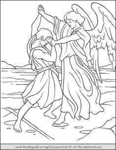 Jacob Wrestles Angle Bible Coloring Page - TheCatholicKid.com Catholic Coloring, Bible Coloring, Bible Coloring Pages, Drawings, Painting, Doodles, Story Tattoo, Art, Color