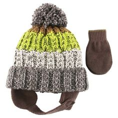 Boys' Tri-Color Hat with Pom/Mitten Set Cat & Jack - Olive Green Toddler, Toddler Boy's Baby Winter Hats, Baby Hats, Game Of Thrones Winter, Toddler Boys, Kids, Olive Green, Knitted Hats, Infant, Baby Boy