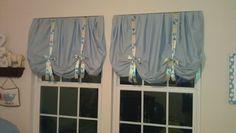 Isaiah's window treatment DIY Pinterest project!!!!  Love them!  SC
