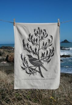 Tui tea towel. $22.00, via Etsy.