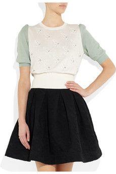 miu miuCat motif beaded fine-knit cotton sweater