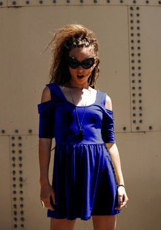 The Evil Twin Night Returns electric blue velvet babydoll dress is so badass! Available at www.shopblacksalt.com