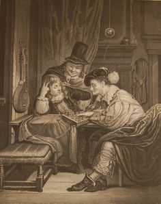 Antique print, Victorian, an engraving published in 1840 after a painting by C D Moor titled The Chess Players. The work was engraved by W Read. William Read was an engraver active from 1824 to circa 1837 this print more than likely one of his later works. Chess Players, Antique Prints, See Picture, Victorian, Antiques, Gallery, Pictures, Painting, Art
