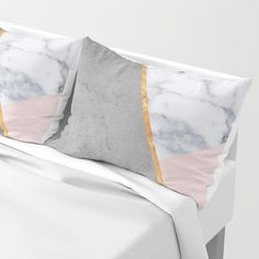Marble Blush Gold gray Geometric Pillow Sham by marilenaxiari - - Marble Bedding, Marble Bedroom, Gold Bedroom, Bedroom Decor, Dream Bedroom, Gold Comforter, Grey Duvet, Teen Girl Rooms, Girl Bedrooms