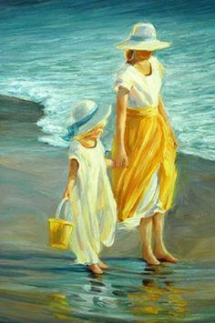 September McGee, 1953 ~ Impressionist painter Beach Painting of Mother and Daughter September McGee Art Plage, Virtual Art, Beach Scenes, Beach Art, Art Paintings, Painting & Drawing, Painting Trees, Watercolor Paintings, Watercolor Drawing