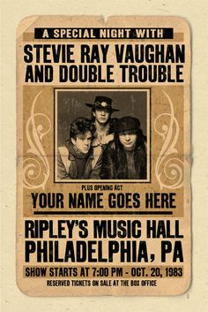 SRV ❤Your Name on a Stevie Ray Vaughan / SRV concert by posterinc