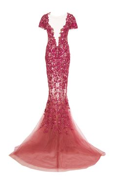 Floral Threadwork Embroidered Fishtail Gown by MARCHESA for Preorder on Moda Operandi